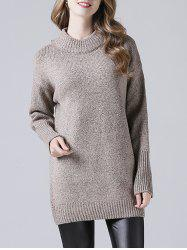 Ribbed Hem Long Knitted Pullover
