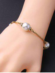 Faux Pearl Box Chain Bracelet