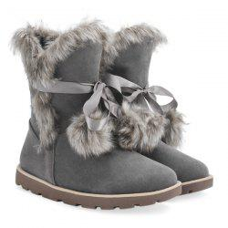 Lace Up Hairball Fuax Fur Flat Snow Boots - GRAY