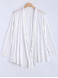 Long Sleeve Open Cardigan - WHITE