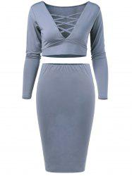 V Neck Crop Top and Pencil Skirt - GRAY L