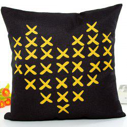 X Mark Love Heart Design Flax Cushion Pillow Case - BLACK