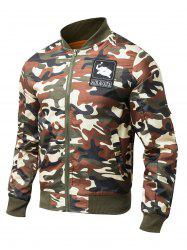 Patch Embellished Rib Spliced Camo Jacket