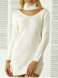 Côtelé uni Sweater Dress - Blanc