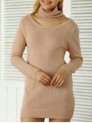 Roll Neck Ribbed Plain Mini Jumper Dress -