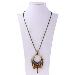 Feather Thread Tassel Pendant Necklace - GOLD BROWN