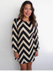 Color Block Zigzag Printed Dress