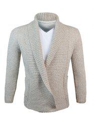 Turn-Down Collar fil de laine en tricot Blends Cardigan - Kaki M