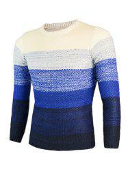 Knitting Ombre Round Neck Long Sleeve Sweater