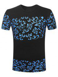Round Neck Floral Printed T-Shirt - BLACK