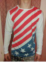 Slimming Round Neck Color Block Striped Star Pattern Long Sleeves T-Shirt -