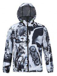 Hooded 3D Vintage Pattern Spliced Print Zip-Up Jacket
