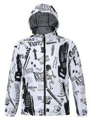 Hooded 3D Scrawl Print Zip-Up Jacket