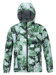 Hooded 3D Abstract Pattern Spliced Print Zip-Up Jacket