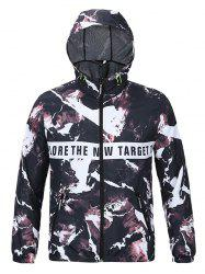 Hooded 3D Magma and Letters Print Zip-Up Jacket -