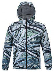 Hooded 3D Highway Print Zip-Up Jacket -