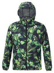 Hooded 3D Leaves and Flowers Print Zip-Up Jacket
