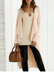 Tie Back Asymmetrical Trench Coat - APRICOT