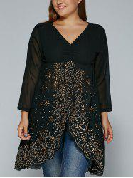 Rhinestone See-Through Asymmetric Blouse - BLACK