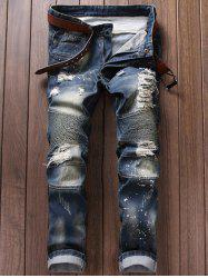 Paint Splatter Ripped Moto Jeans - BLUE