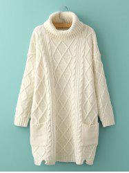 Long Cable Knit Polo Neck Jumper Sweater - WHITE