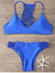 Hollow Out Bikini Set - BLUE XL