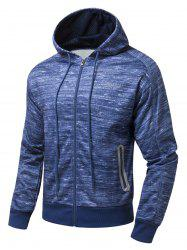 Drawstring Hood Zipper-Up Marled Hoodie -
