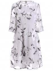 See-Through Floral Print Midi Organza Dress