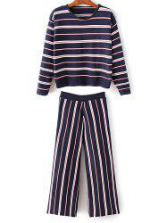 Round Neck Stripes Knitwear With Pants -