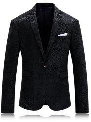 Col à revers Bouton simple Jacquard Blazer -