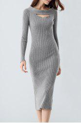 Midi Ribbed Knit Long Sleeve Bodycon Dress - GRAY ONE SIZE