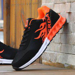 Breathable Tie Up Colour Block Athletic Shoes -