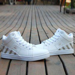 Color Splicing Striped Pattern Tie Up Casual Shoes -