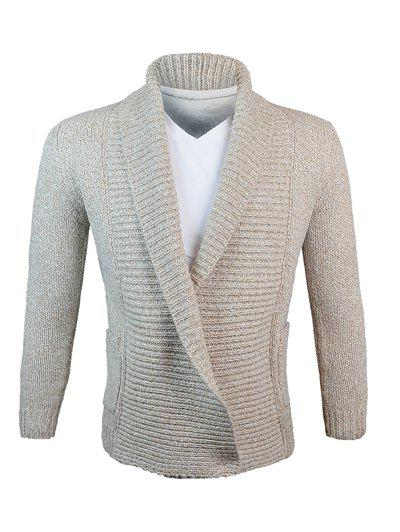 Turn-Down Collar fil de laine en tricot Blends Cardigan Kaki M