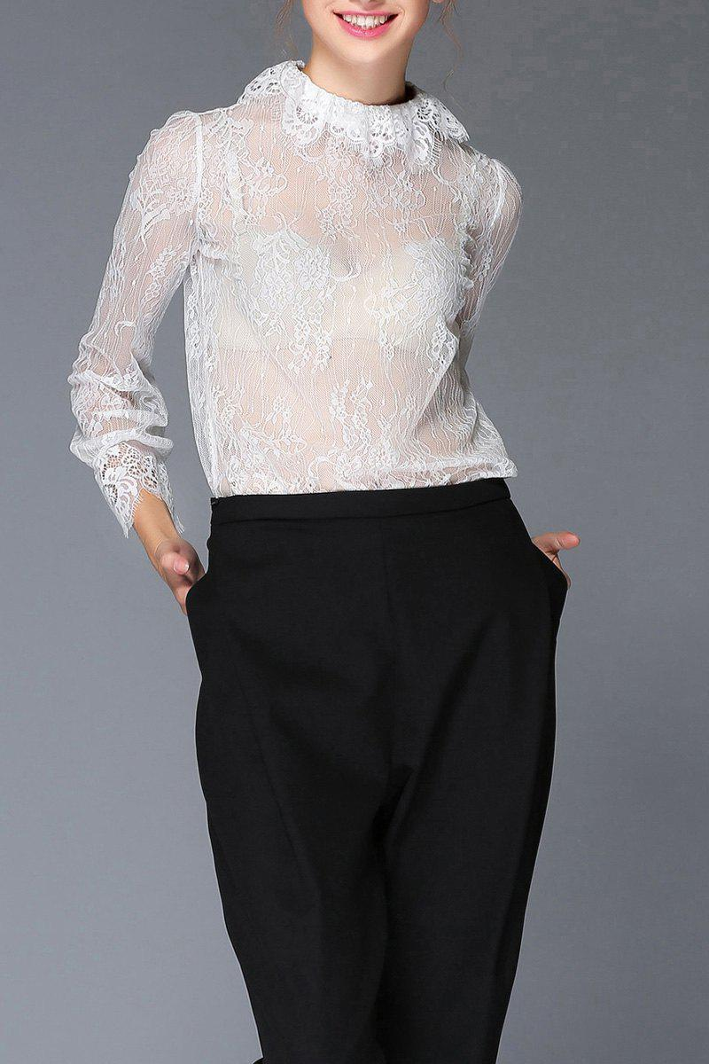 See Through Lace Блуза Белый 3XL