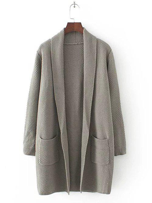 Trendy Long Sleeve Double Pockets Textured Long Knit Cardigan