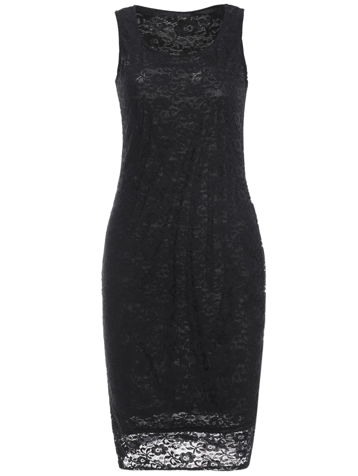bfe1289fc16e5 2018 Openwork Lace Knee Length Sheath Dress In Black Xl