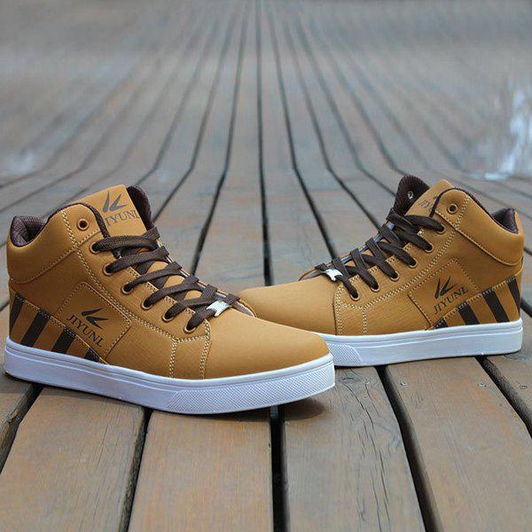 Affordable Color Splicing Striped Pattern Tie Up Casual Shoes