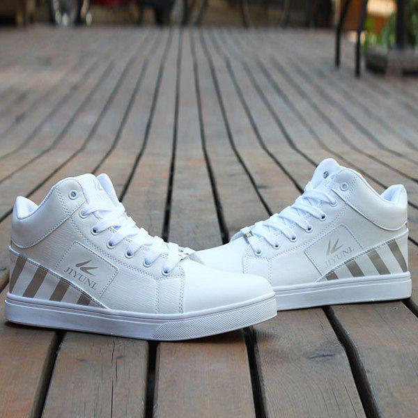 Shops Color Splicing Striped Pattern Tie Up Casual Shoes