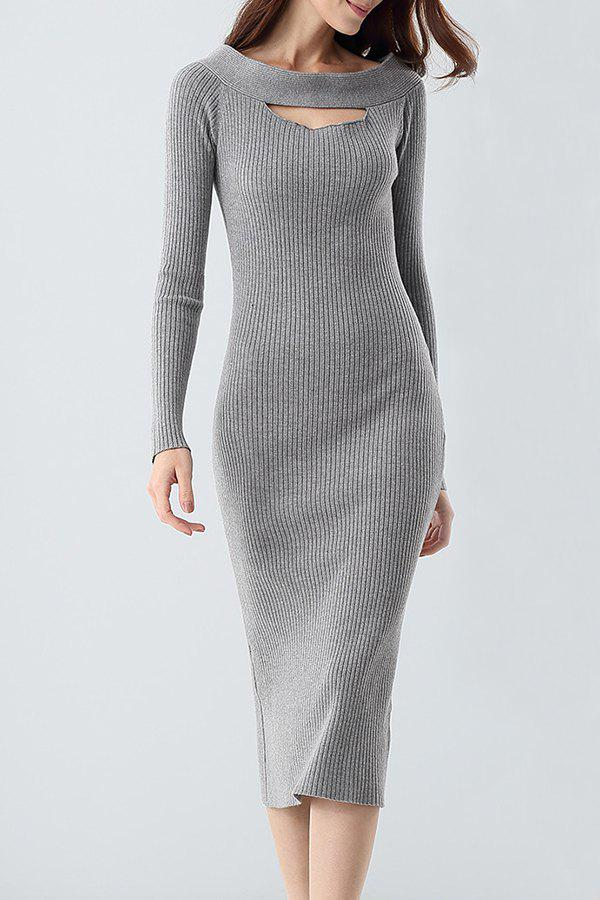 Best Midi Ribbed Knit Long Sleeve Bodycon Dress