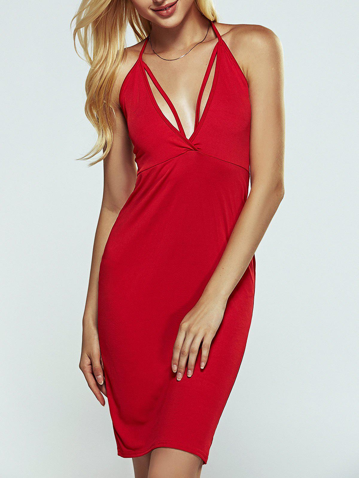Chic Halter Strappy Open Back Cut Out Bodycon Dress