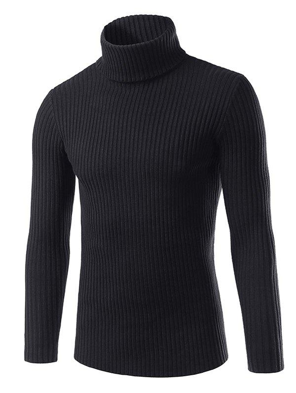 Fashion Turtle Neck Vertical Whorl Long Sleeve Sweater