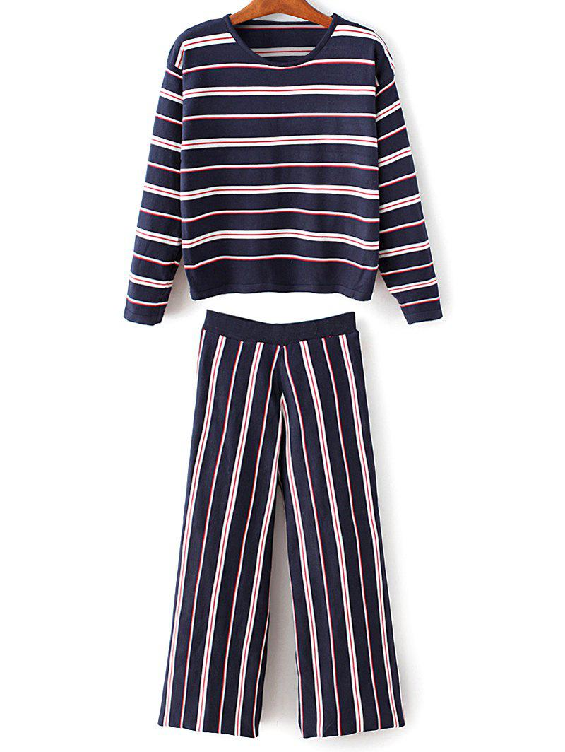 Online Round Neck Stripes Knitwear With Pants