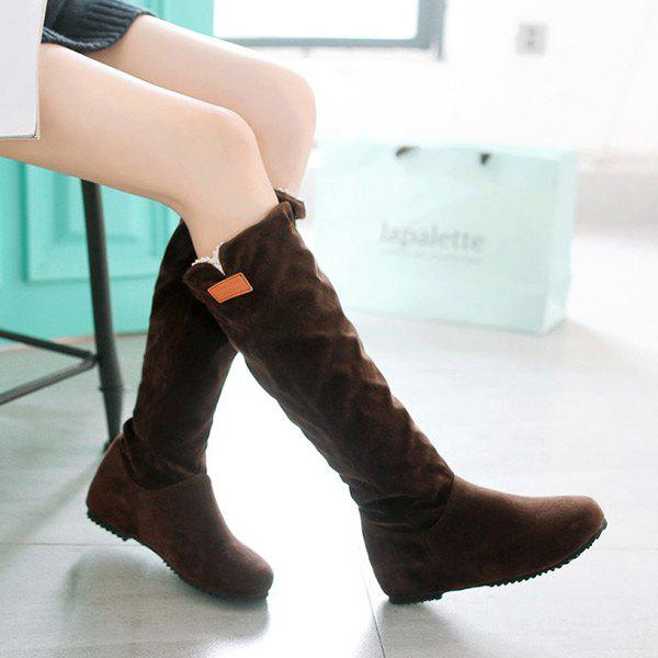 Latest Suede Hidden Wedge Mid Calf Boots