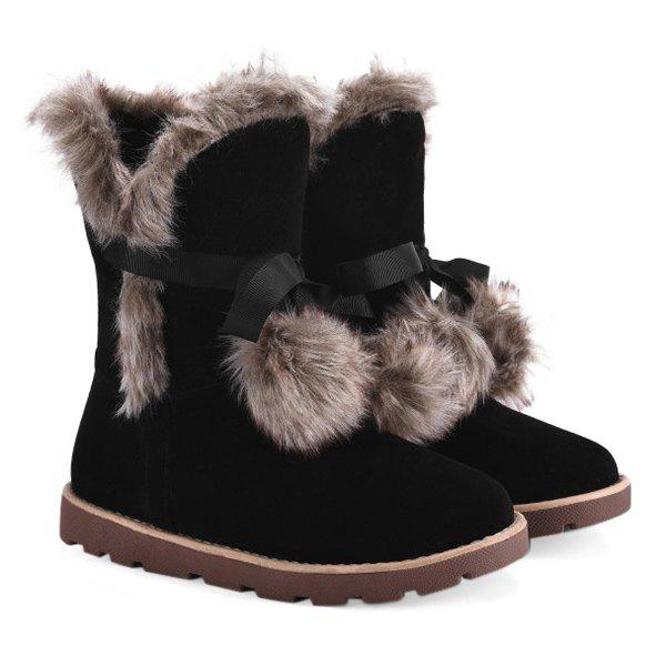 Trendy Lace Up Hairball Fuax Fur Flat Snow Boots
