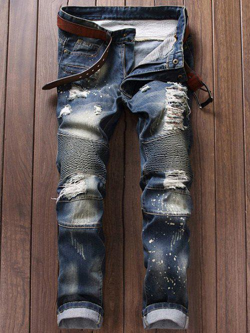 Outfit Paint Splatter Ripped Moto Jeans
