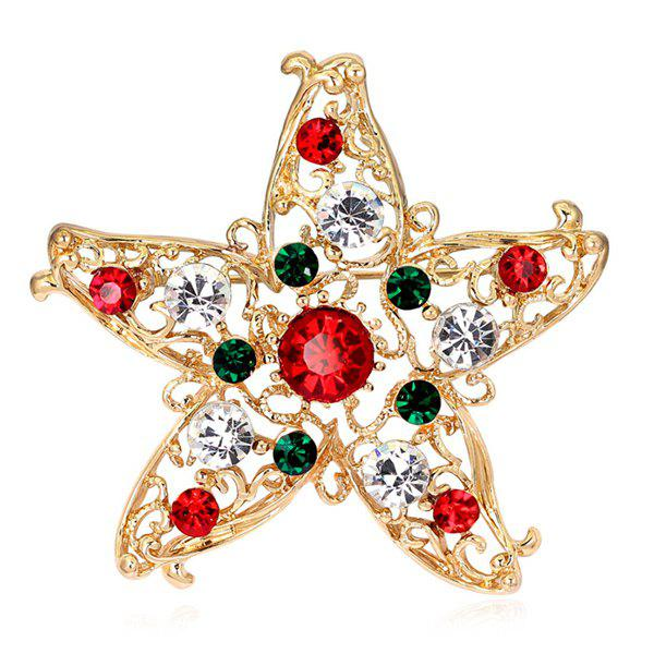 Star Rhinestone BroochJEWELRY<br><br>Color: GOLDEN; Brooch Type: Brooch; Gender: For Women; Material: Rhinestone; Metal Type: Gold Plated; Style: Trendy; Shape/Pattern: Star; Weight: 0.030kg; Package Contents: 1 x Brooch;