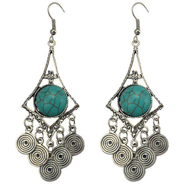 Faux Turquoise Spiral EarringsJEWELRY<br><br>Color: TURQUOISE; Earring Type: Drop Earrings; Gender: For Women; Material: Semi-Precious Stone; Metal Type: Silver Plated; Style: Classic; Shape/Pattern: Geometric; Weight: 0.037kg; Package Contents: 1 x Earrings(Pair);