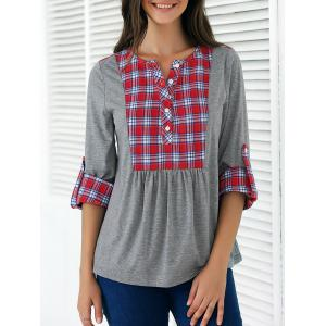 Plaid Print Patchwork Buttoned Blouse - Gray And Red - Xl