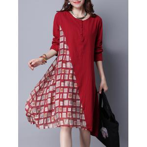 Geometric Printed Long Sleeve Swing Dress